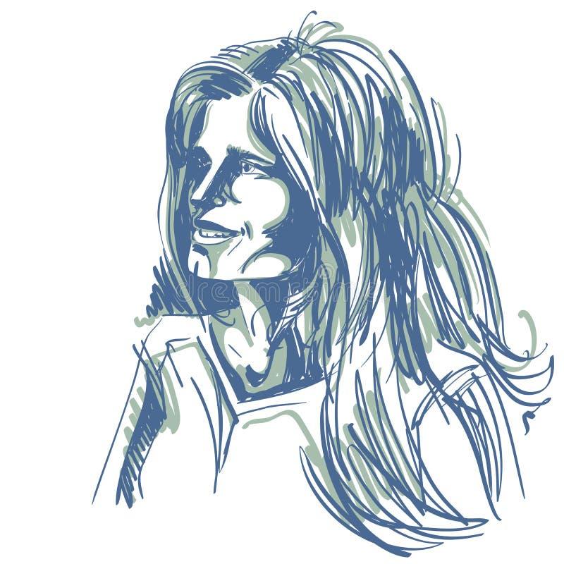 Иллюстрация графического вектора нарисованная вручную белой кожи привлекательная бесплатная иллюстрация