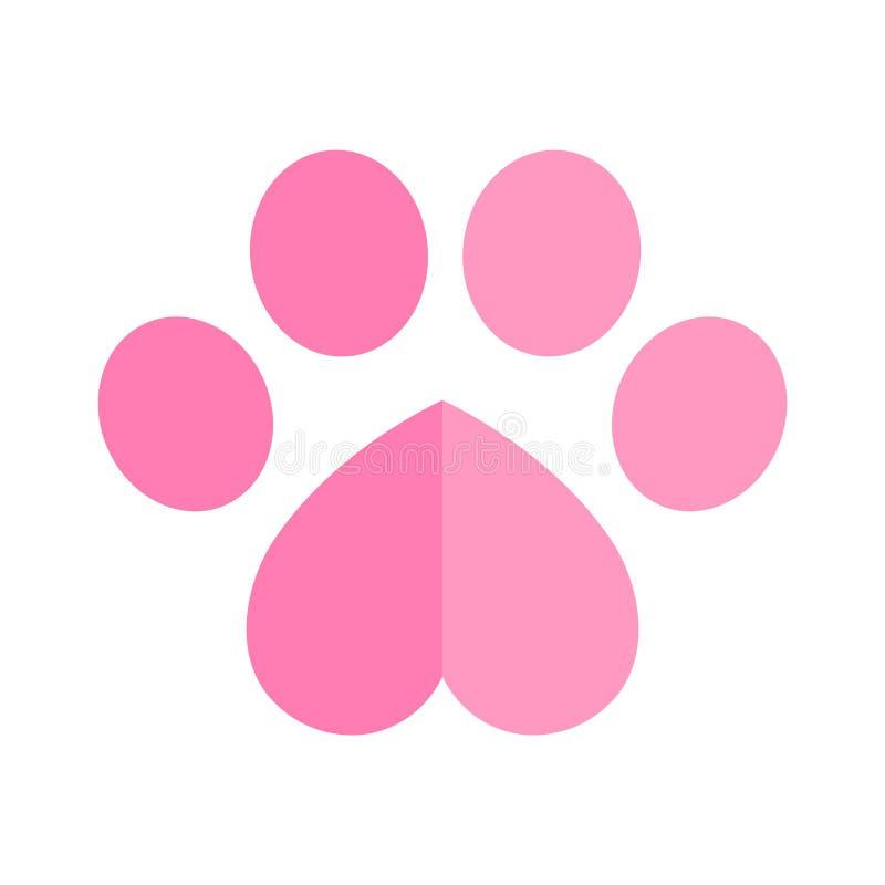 Иллюстрация графического символа Валентайн сердца логотипа значка следа ноги вектора лапки собаки бесплатная иллюстрация