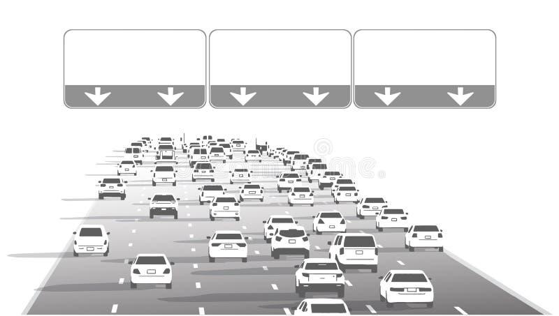 Иллюстрация движения шоссе шоссе скоростного шоссе с пустыми знаками иллюстрация вектора