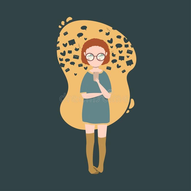 иллюстрация девушки беседуя на смартфоне с tooltips вокруг иллюстрация штока