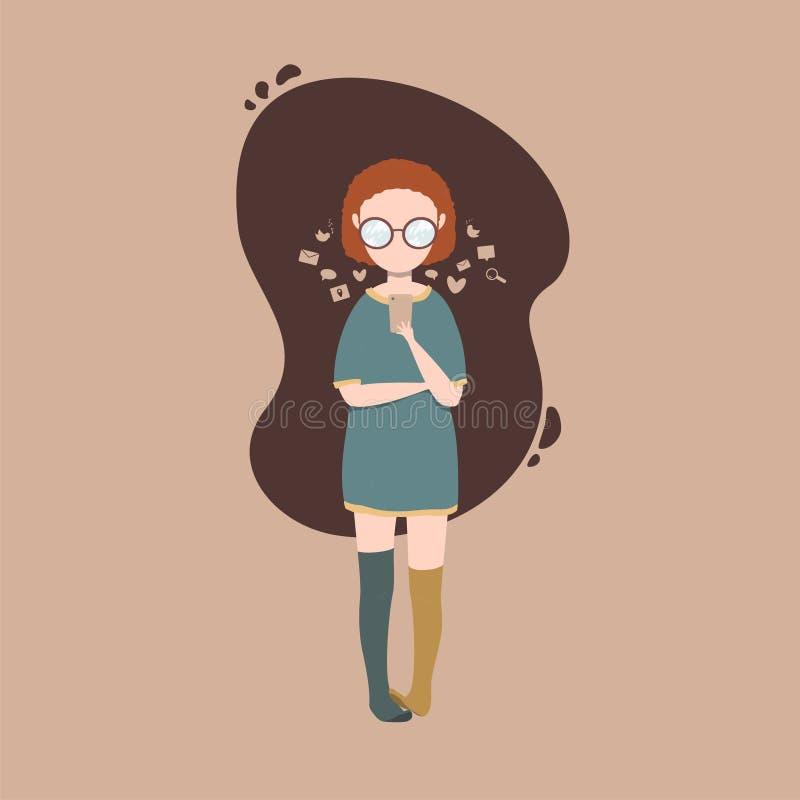 иллюстрация девушки беседуя на смартфоне иллюстрация вектора
