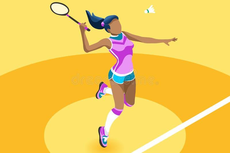 Иллюстрация девушки вектора бадминтона предпосылки бесплатная иллюстрация