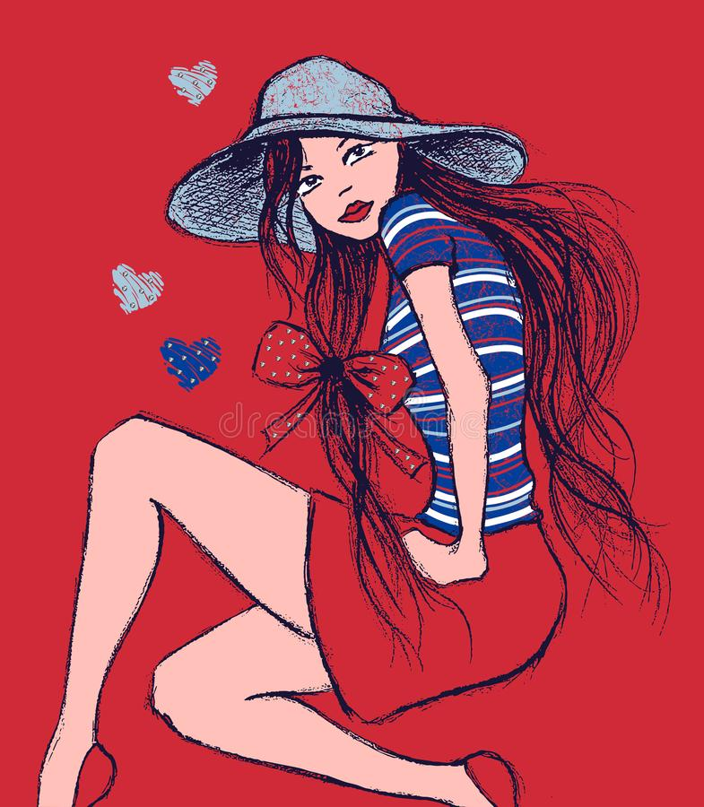 Иллюстрация девушки в шляпе сидя, печати футболки иллюстрация штока