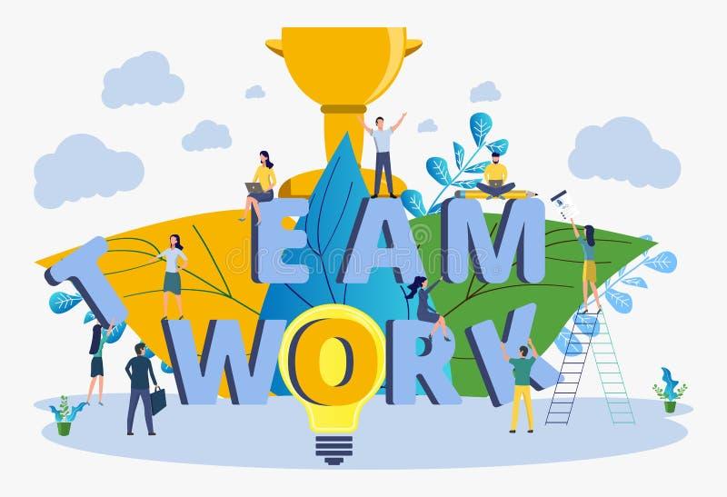 Иллюстрация дела, бизнесмены вектора строит совместно творческое дело команды Успешное дело бесплатная иллюстрация