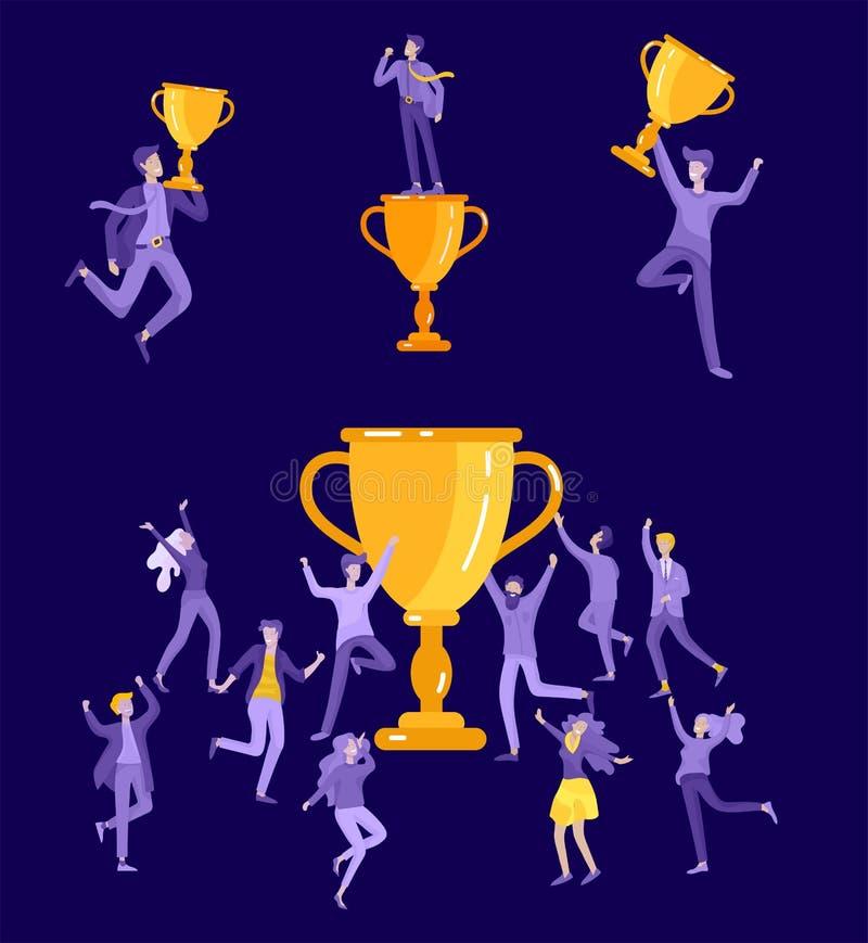 Иллюстрация дела вектора, команда руководства творческая, успешные люди стоя с победителем иллюстрация штока