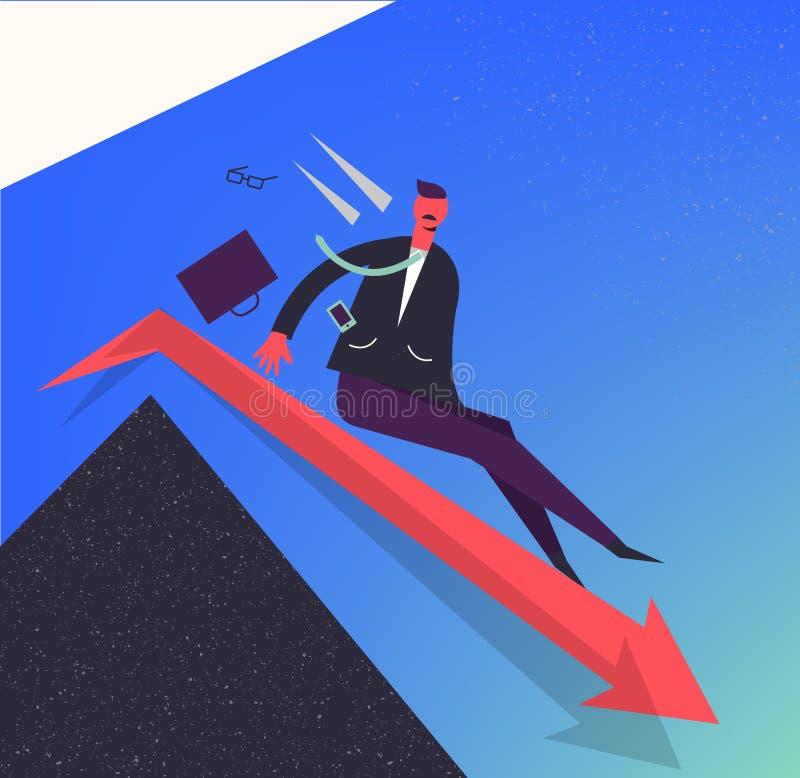 Иллюстрация дела вектора, стилизованный характер Бизнесмен двигая вниз красной стрелкой Освобождать деньги, положения иллюстрация штока