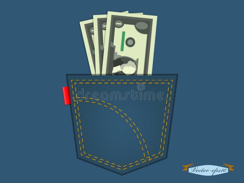 Иллюстрация денег в карманн голубых джинсов стоковое фото