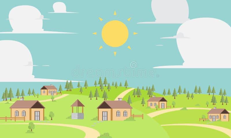 Иллюстрация деревни вектора мирная стоковые изображения rf