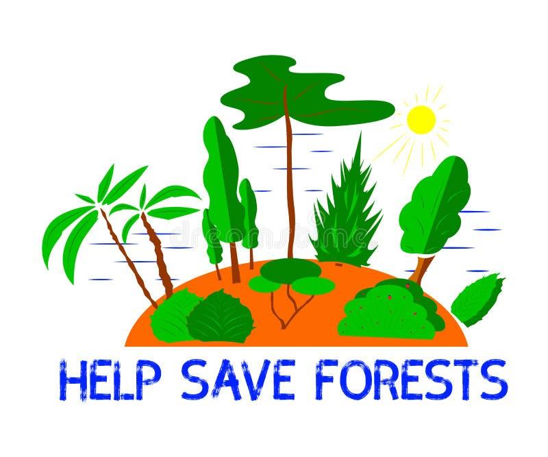 Иллюстрация деревьев и кусты с текстом помогают сохранить леса бесплатная иллюстрация
