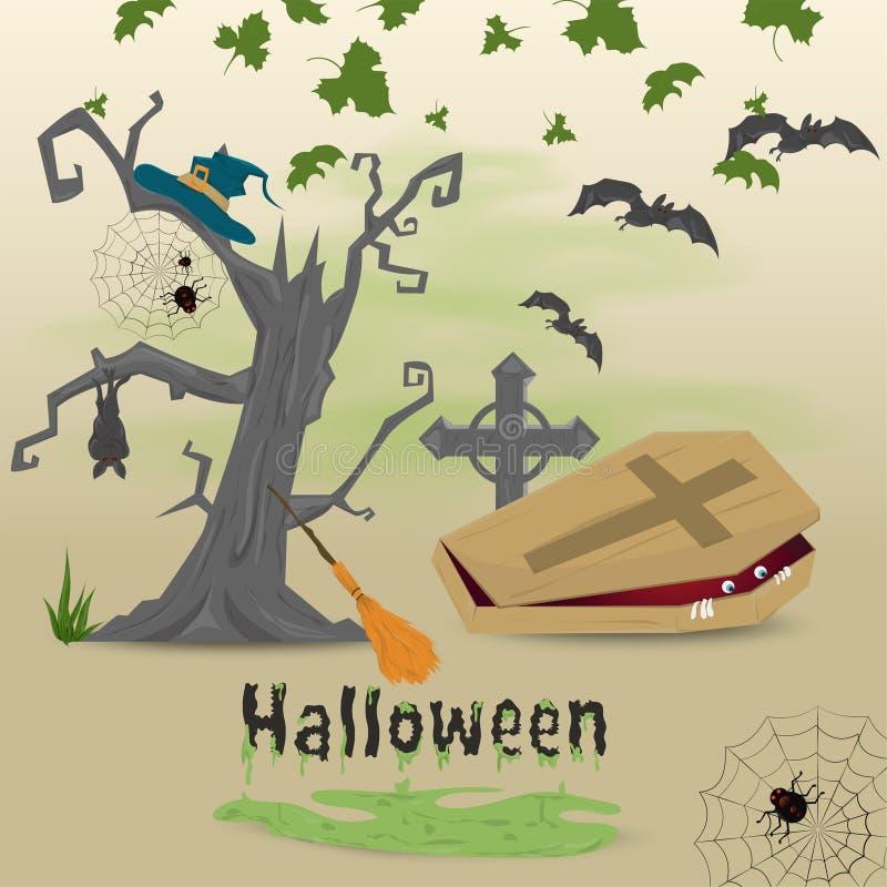 Иллюстрация детей в плоском стиле, теме кануна всего дня Святых, партии хеллоуина, страшного дерева, гроба с a бесплатная иллюстрация