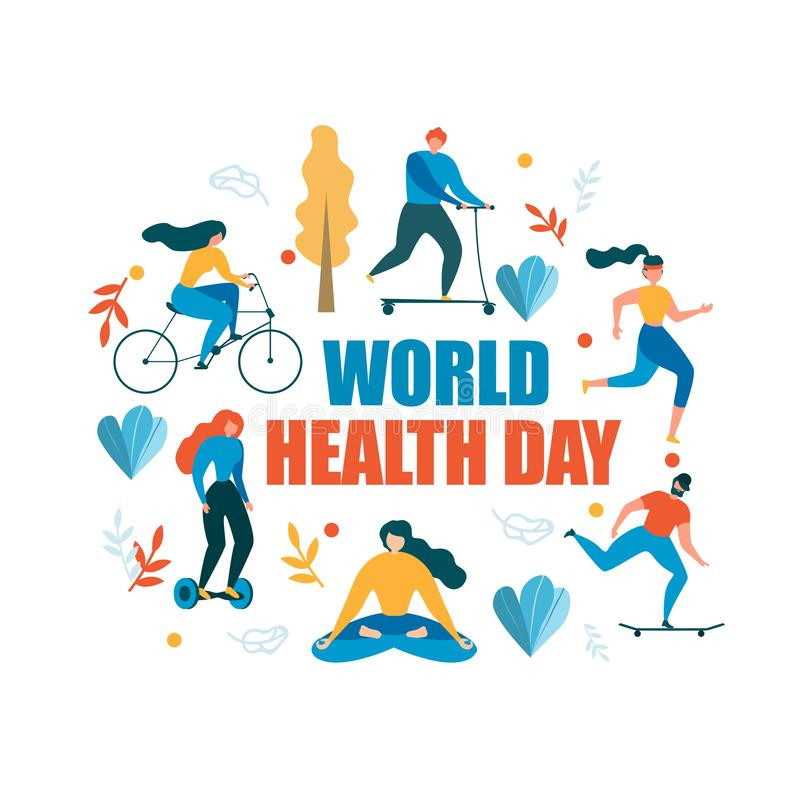 Иллюстрация деятельности при дня здоровья мира здоровая иллюстрация вектора