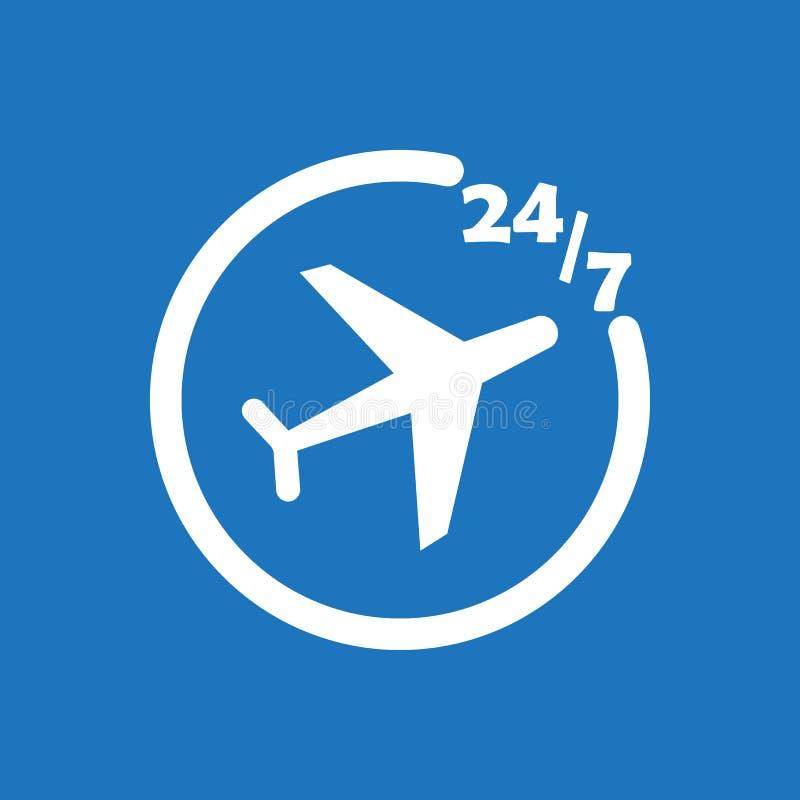 иллюстрация дизайна вектора значка 247 билетов на самолет плоская бесплатная иллюстрация