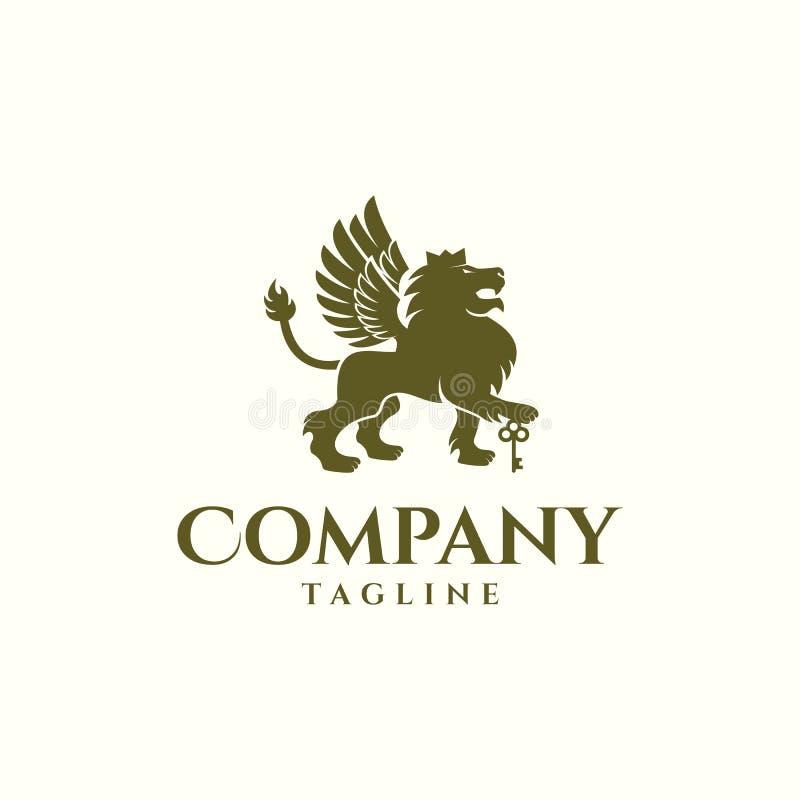Иллюстрация дизайна вектора логотипа ключа льва иллюстрация штока