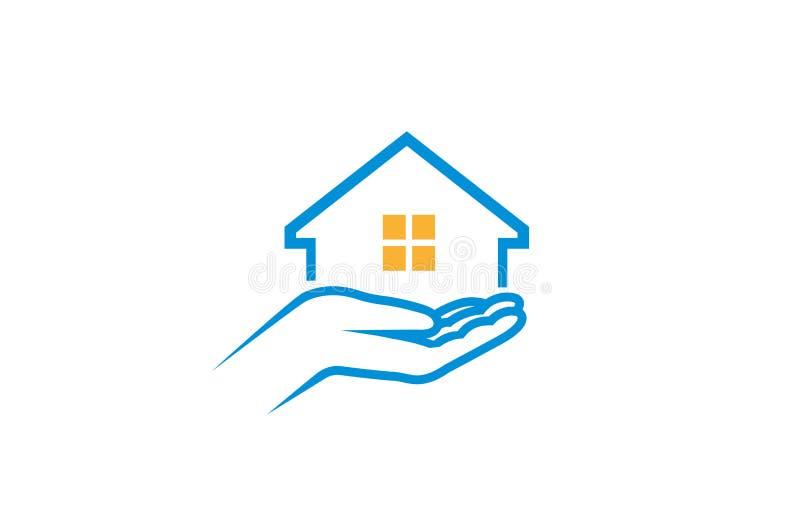 Иллюстрация дизайна вектора логотипа руки удерживания заботы дома иллюстрация штока