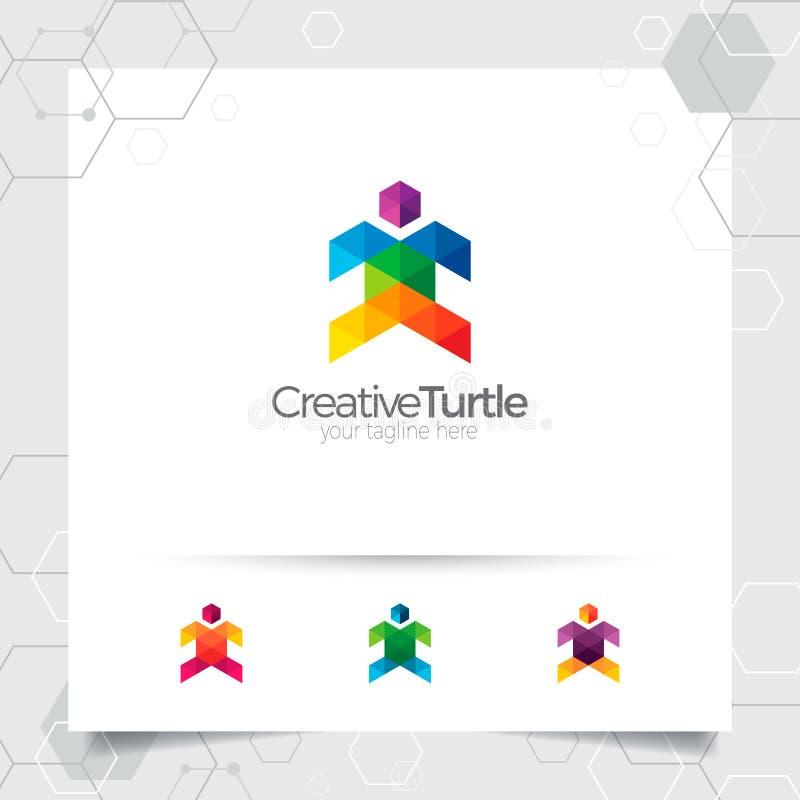 Иллюстрация дизайна вектора логотипа черепахи с красочными треугольником и концепцией пиксела Вектор логотипа черепахи для прилож бесплатная иллюстрация