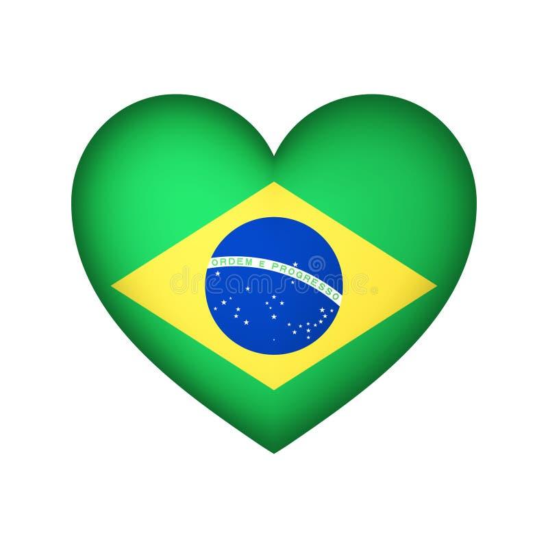 Иллюстрация дизайна вектора сердца флага Бразилии иллюстрация штока