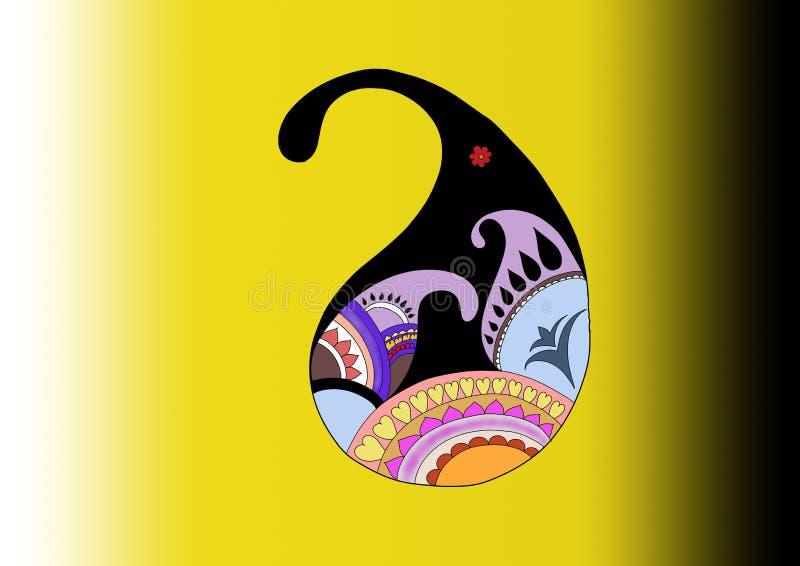 Иллюстрация дизайна индийского павлина этническая для платьев иллюстрация штока