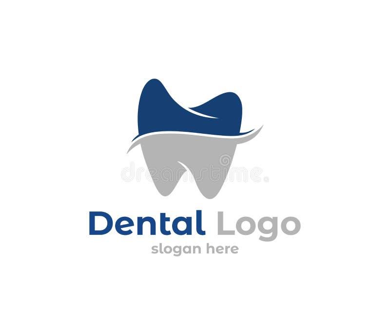 Иллюстрация дизайна логотипа вектора для зубоврачебного здравоохранения клиники, практики дантиста, обработки зуба, здорового зуб иллюстрация вектора