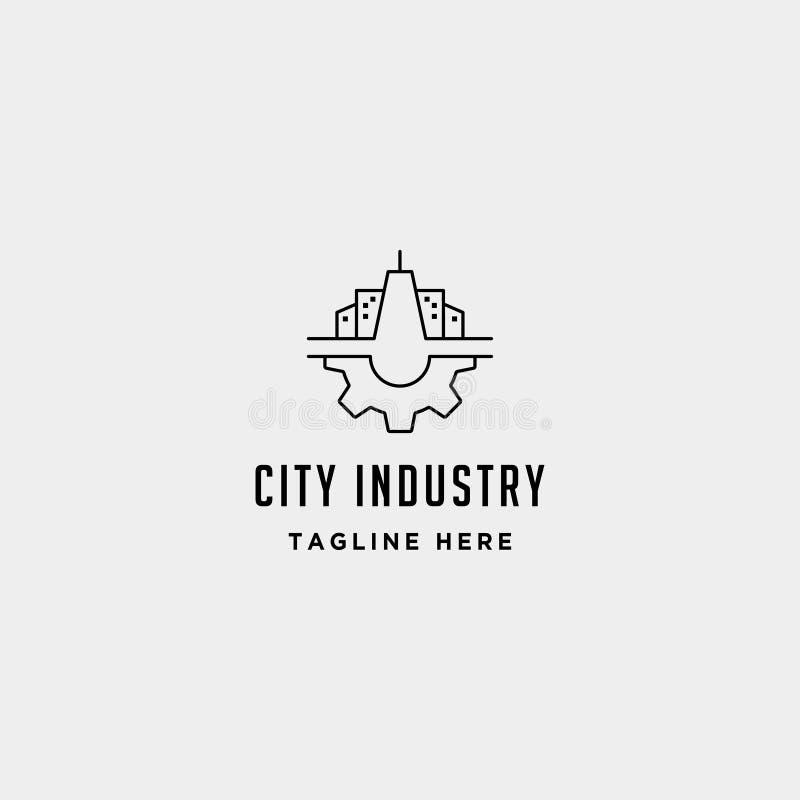 Иллюстрация дизайна символа вектора логотипа шестерни города промышленная бесплатная иллюстрация