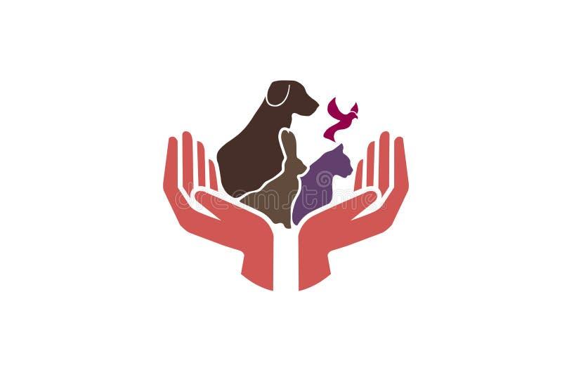 Иллюстрация дизайна символа логотипа заботы любимчиков иллюстрация вектора