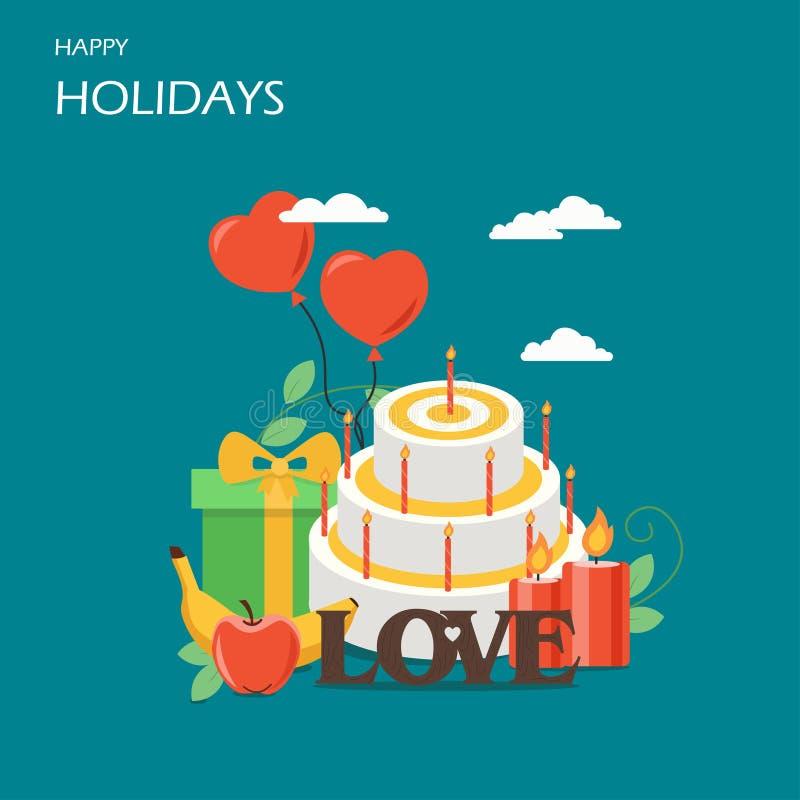 Иллюстрация дизайна стиля счастливого вектора праздников плоская иллюстрация штока