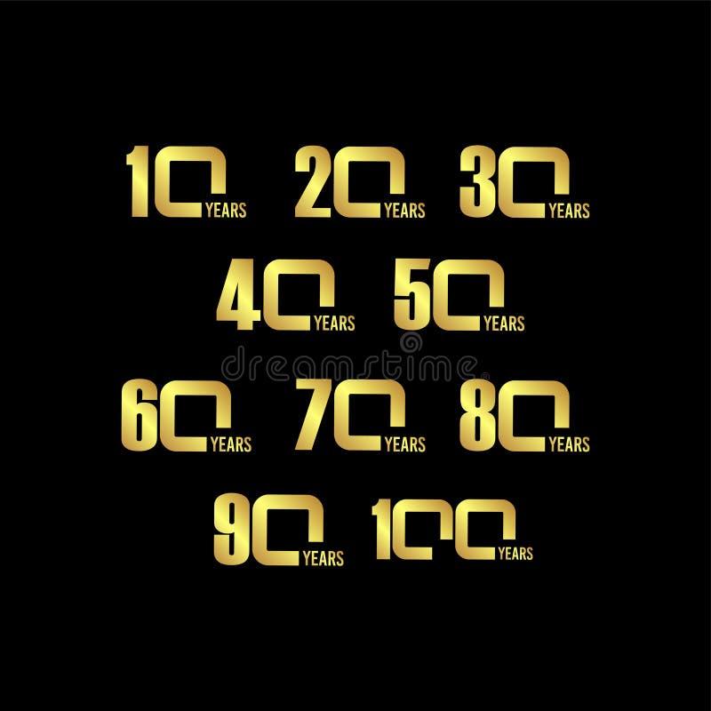 Иллюстрация дизайна шаблона вектора годовщины года установленная иллюстрация штока
