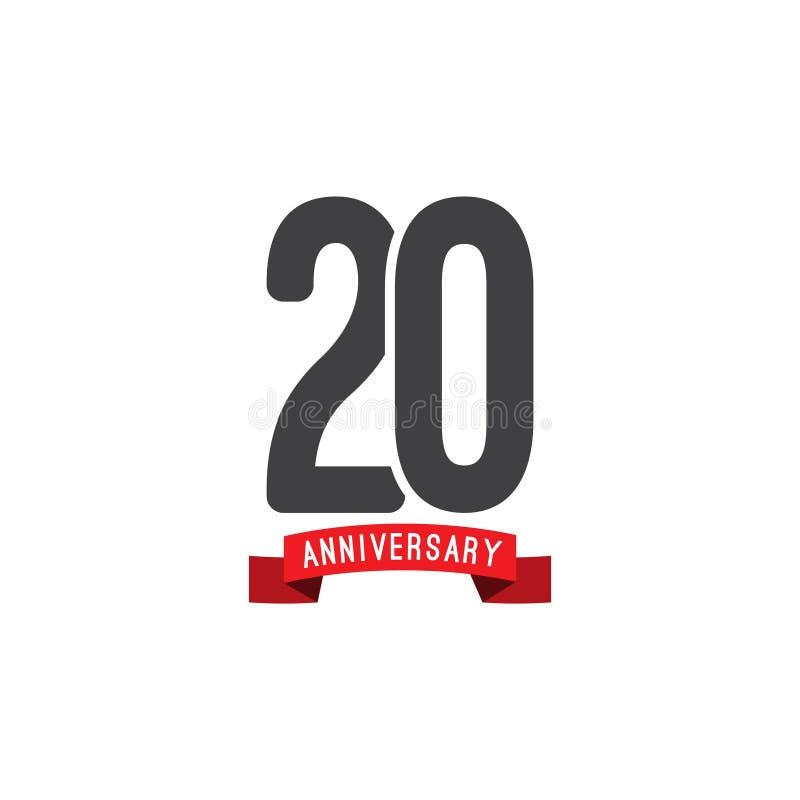 Иллюстрация дизайна шаблона вектора годовщины 20 год бесплатная иллюстрация