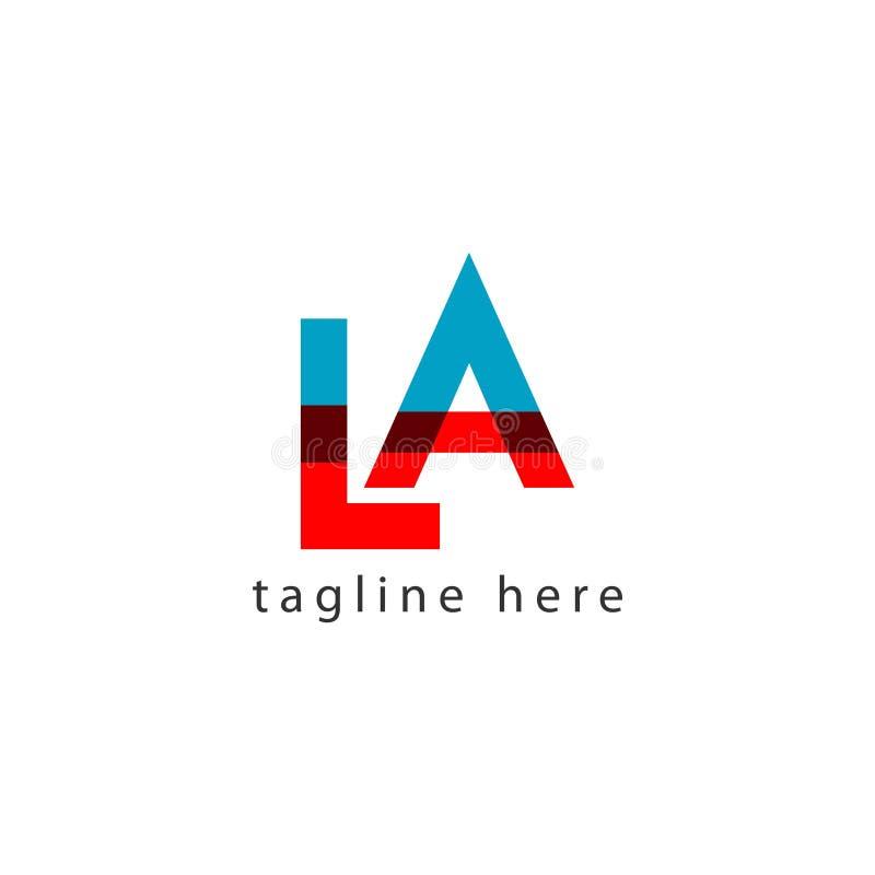 Иллюстрация дизайна шаблона вектора письма логотипа ЛА иллюстрация вектора