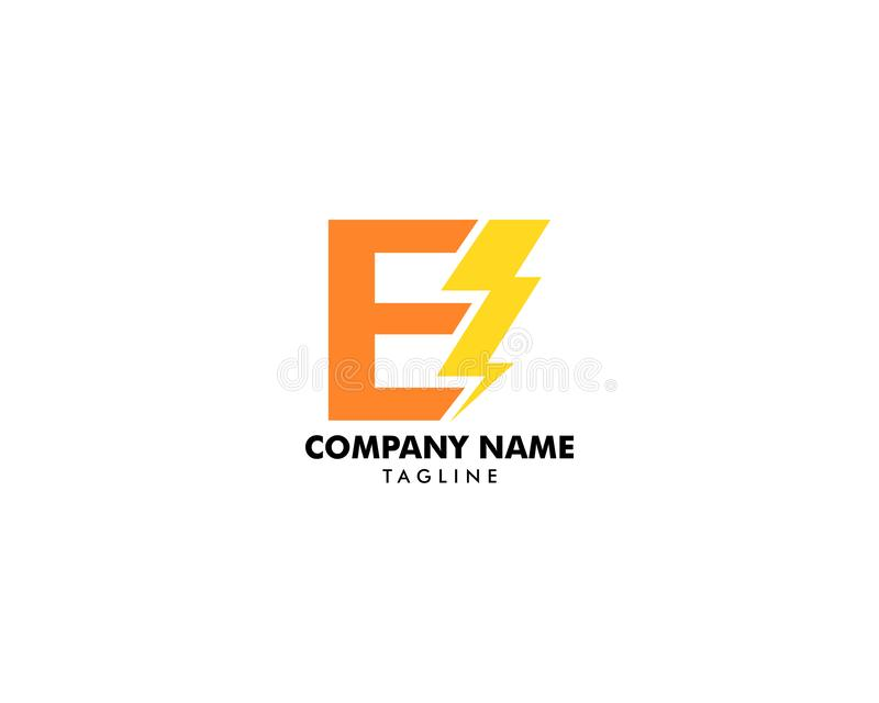 Иллюстрация дизайнов вектора значка символа логотипа болта письма e иллюстрация штока