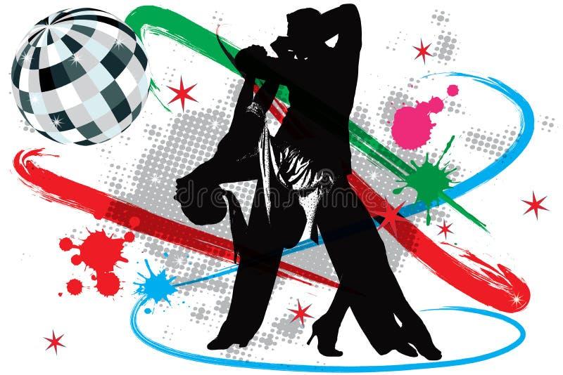 иллюстрация диско танцоров иллюстрация вектора