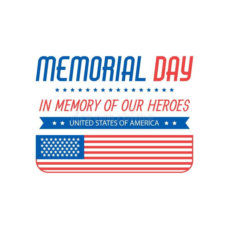 Иллюстрация Дня памяти погибших в войнах с американским флагом Предпосылка вектора иллюстрация вектора