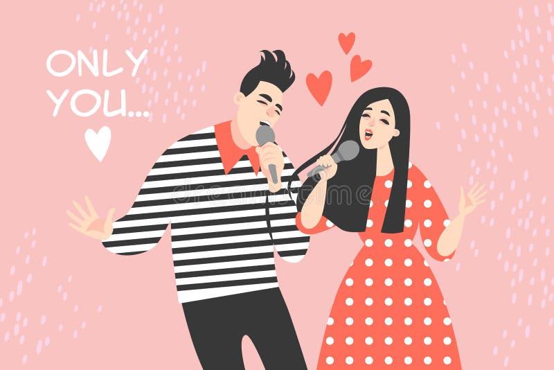 Иллюстрация дня Святого Валентина вектора с молодыми парами поя песню о любви бесплатная иллюстрация