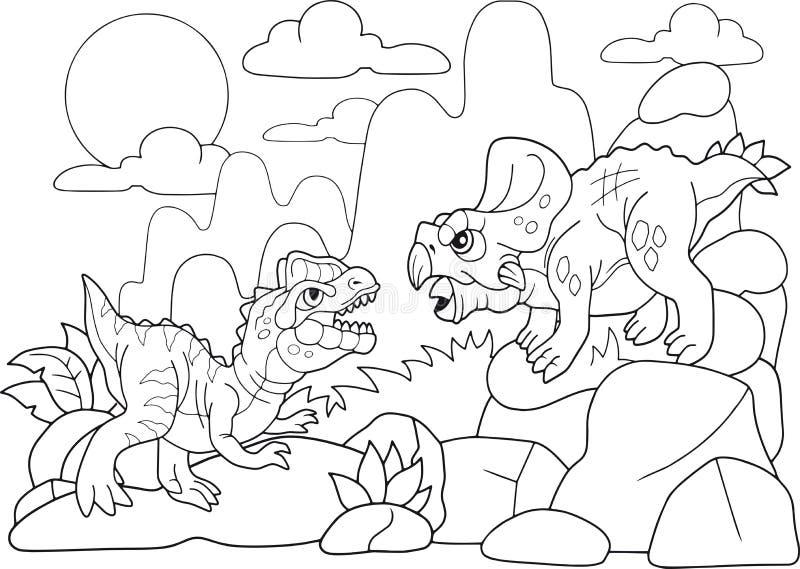 Иллюстрация доисторической книжка-раскраски мультфильмов динозавра смешная иллюстрация вектора