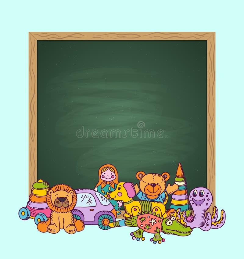 Иллюстрация доски вектора зеленая с местом для кучи textand ребенк забавляется покрашенная рука нарисованная и иллюстрация штока