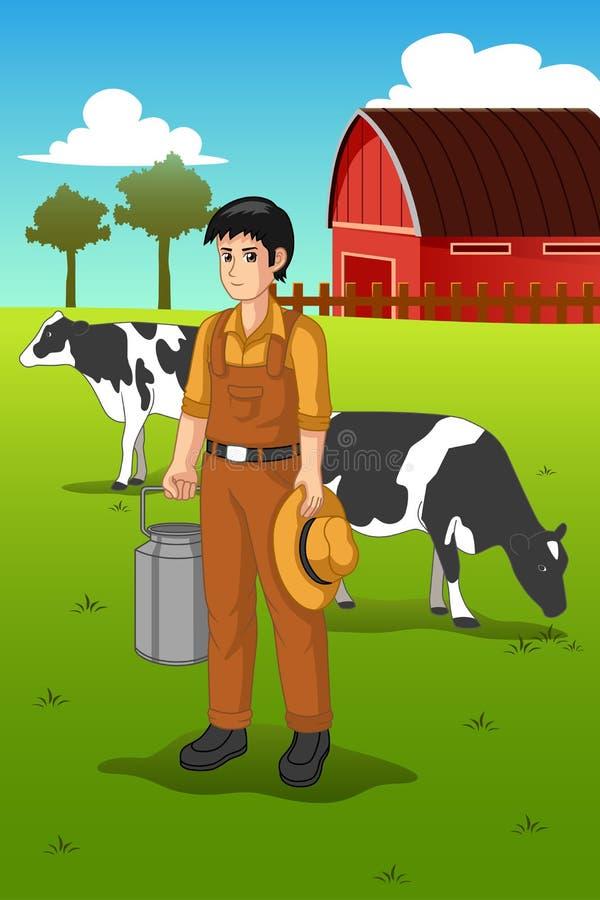 Иллюстрация доя коровы фермера бесплатная иллюстрация
