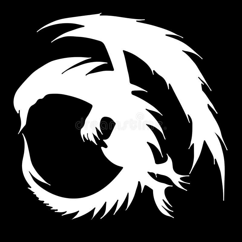 Иллюстрация дракона вектора руки вычерченная изолированная на черной предпосылке Фантастический значок дракона Freehand aminal ми иллюстрация штока