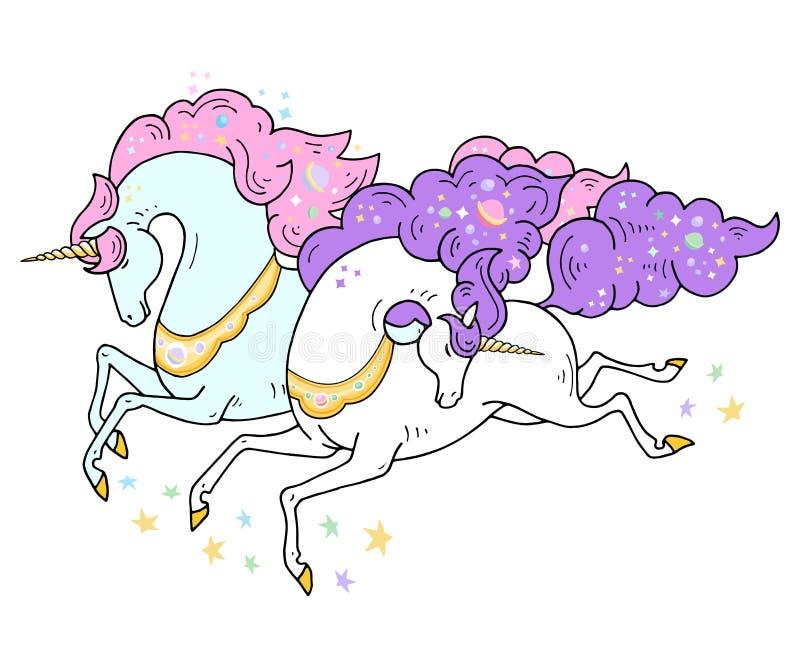 Иллюстрация 2 единорогов вектора волшебных милая Дизайн карточки и рубашки Романтичный чертеж руки для детей и девушек иллюстрация штока