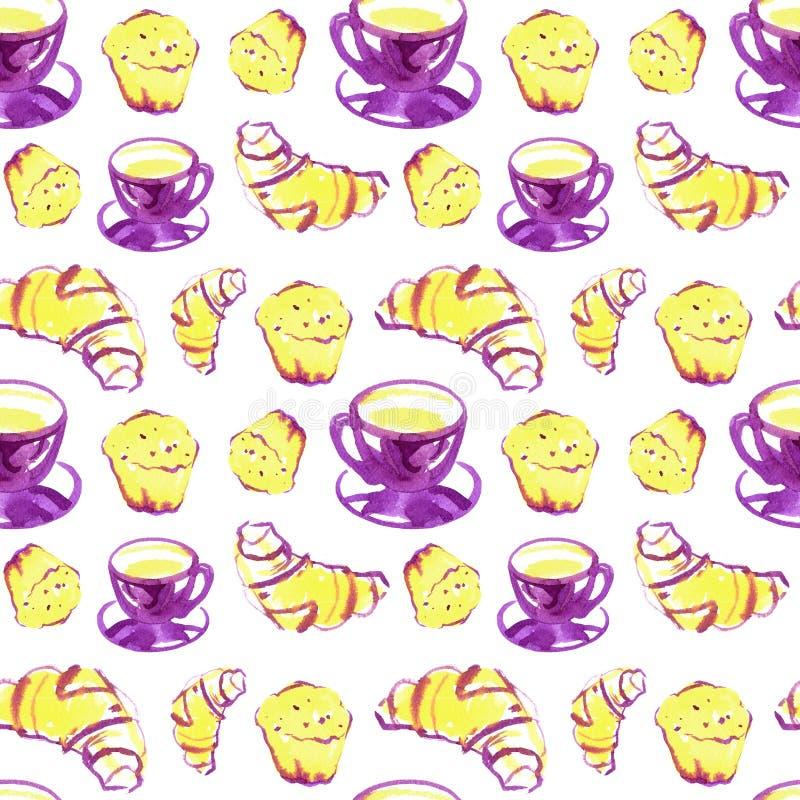 Иллюстрация еды акварели, эскиз моды, чертеж растра Круассан хлебопекарни свежий Эспрессо capuccino чашки кофе иллюстрация штока
