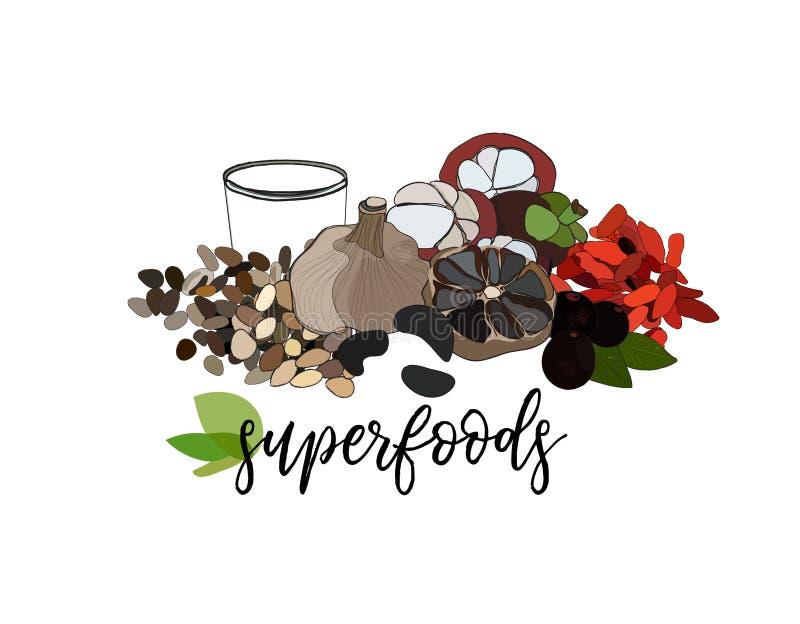 Иллюстрация еды вектора супер органическое здоровое питание бесплатная иллюстрация