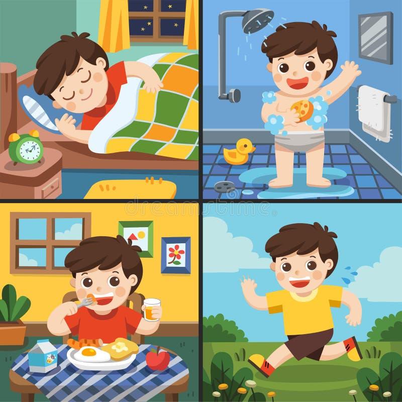 Иллюстрация ежедневного режима милого мальчика иллюстрация штока
