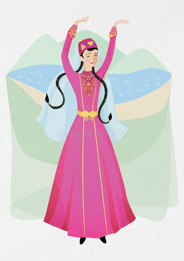 Иллюстрация женщины, национальный танец крымское татарского в национальном фольклорном co иллюстрация штока