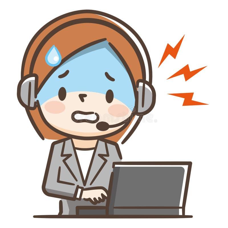 Иллюстрация женщины работая в центре телефонного обслуживания Она общается с жалобами иллюстрация штока