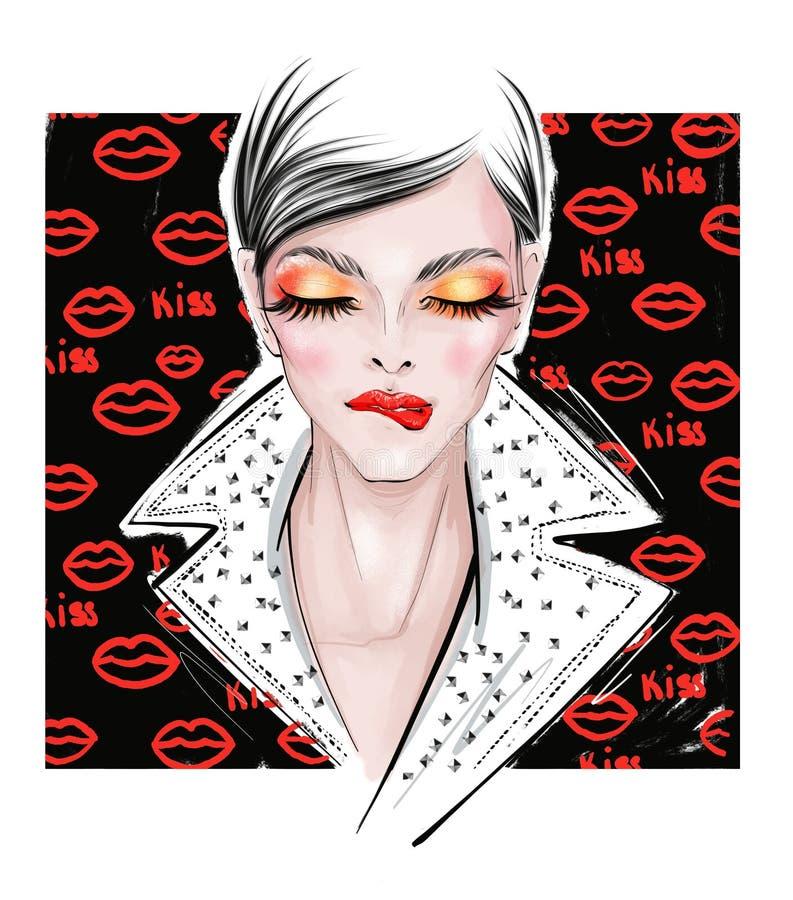 Иллюстрация женщины с красными тенями, на черной предпосылке иллюстрация вектора