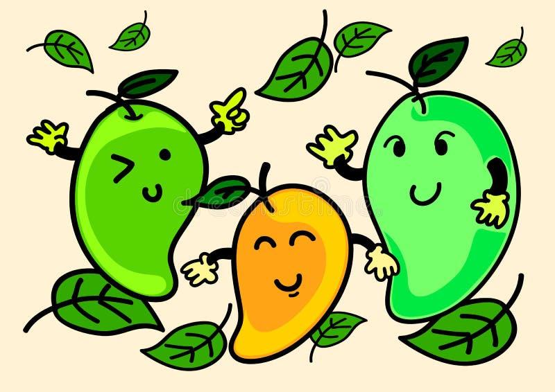 Иллюстрация жизнерадостного характера манго шаржа стоковое изображение