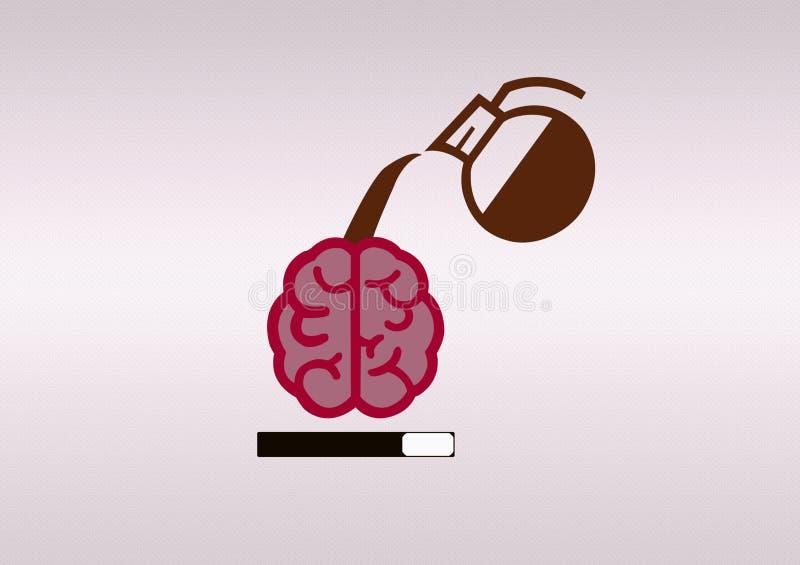 Иллюстрация загрузки мозга кофе стоковая фотография