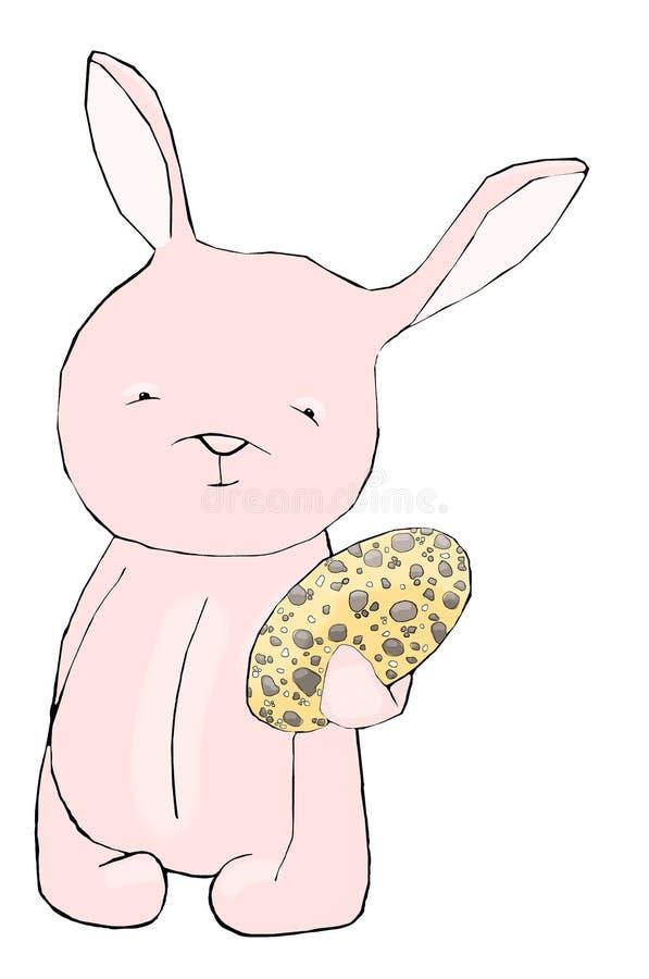 Иллюстрация зайчиков маленьких розовых пасхи с желтым яичком стоковая фотография