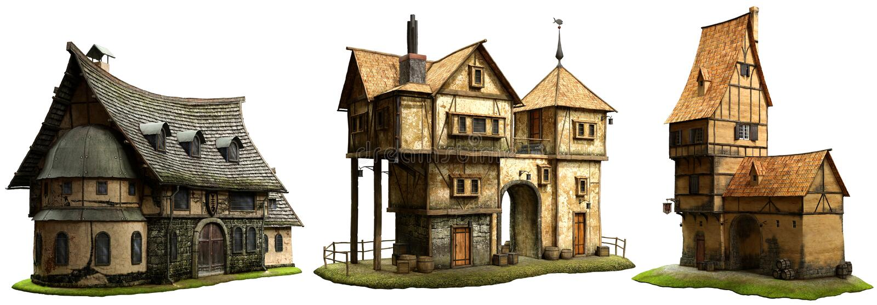 Иллюстрация зданий 3D фантазии иллюстрация вектора
