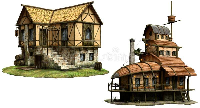 Иллюстрация зданий 3D харчевни фантазии иллюстрация вектора