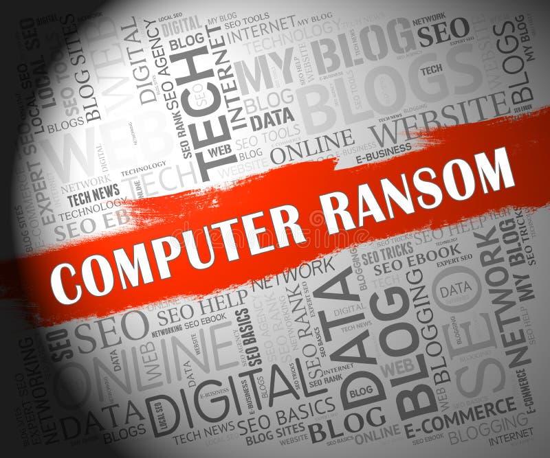 Иллюстрация злостой кибер атаки выкупа компьютера 2d иллюстрация штока