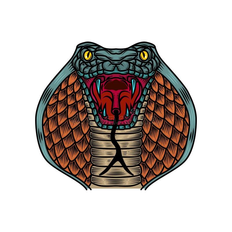 Иллюстрация змейки кобры в стиле татуировки старой школы Конструируйте элемент для логотипа, ярлыка, знака, плаката, футболки бесплатная иллюстрация